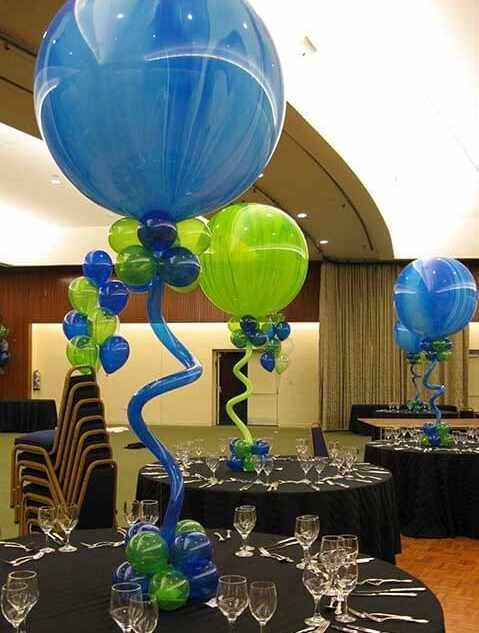 Green & Blue Marble Balloons
