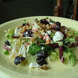 """""""A simple light and sweet salad with goat cheese, dried cherries and walnuts…"""