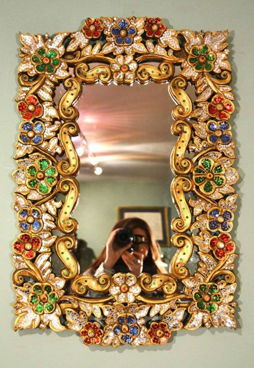 Beautiful Mirror beautiful mirror bordered with precious stones 71 x 46 cm | mirror