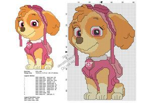 Photo of Paw Patrol character Skye free cross stitch pattern 60×87