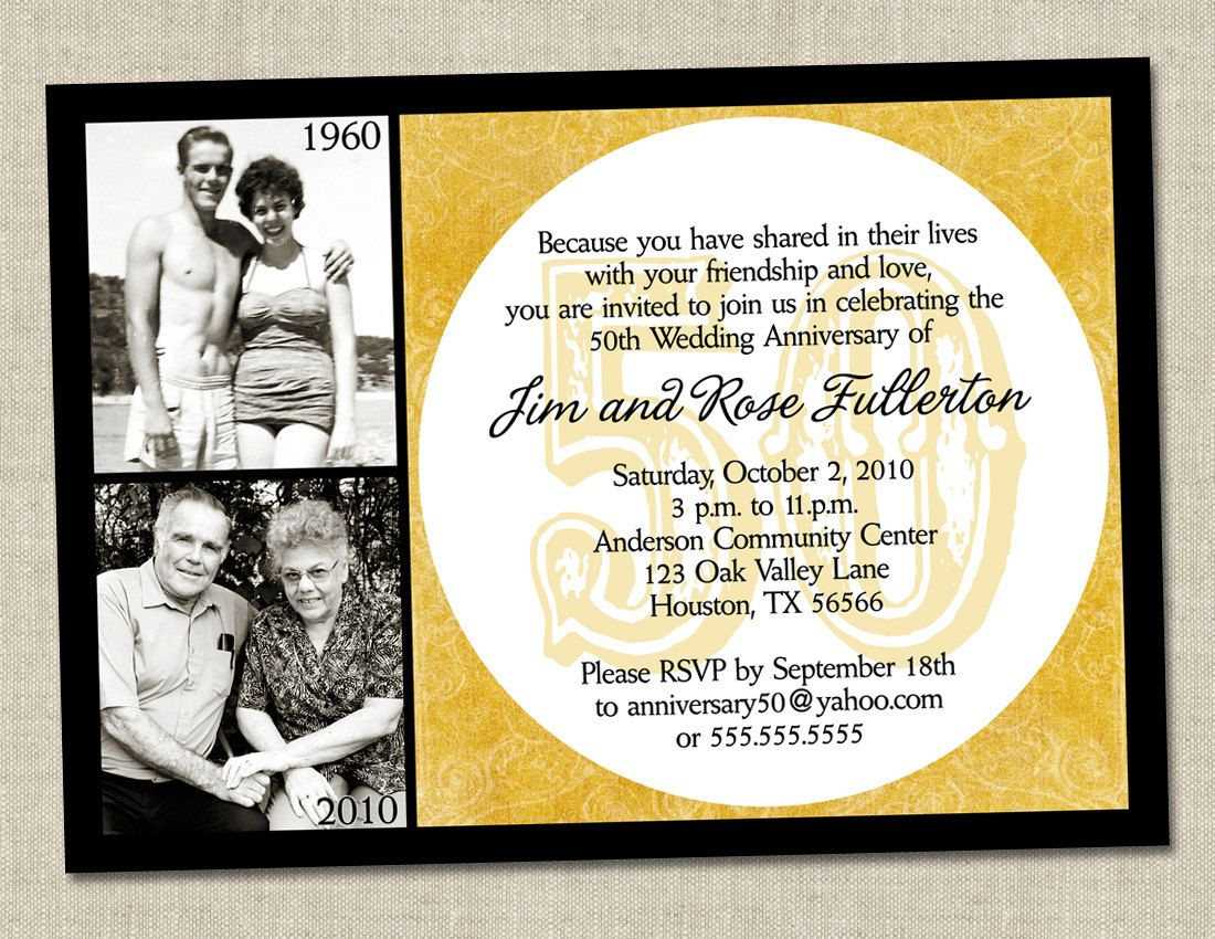 50th anniversary invitation - golden gold anniversary wedding, Wedding invitations