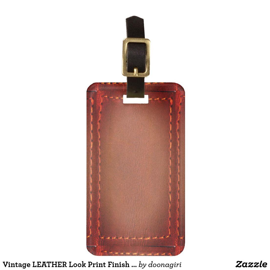 Vintage Leather Look Print Finish  Template Bag Tag  Vintage