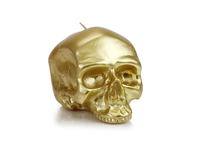 D L Co Medium Gold Skull Metallic Candle Www Dlcompany Com Skull Candle Metal Candle Gold Candles