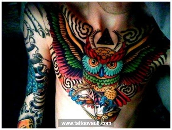 Japanese Owl Tattoo Design On Chest Tatoeage Kunst Inspirerende Tatoeages Tatoeages