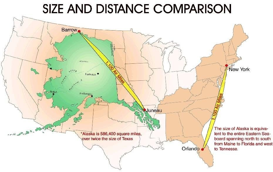 Size And Distance Comparison Of Alaska With The Continental United - Map continental united states