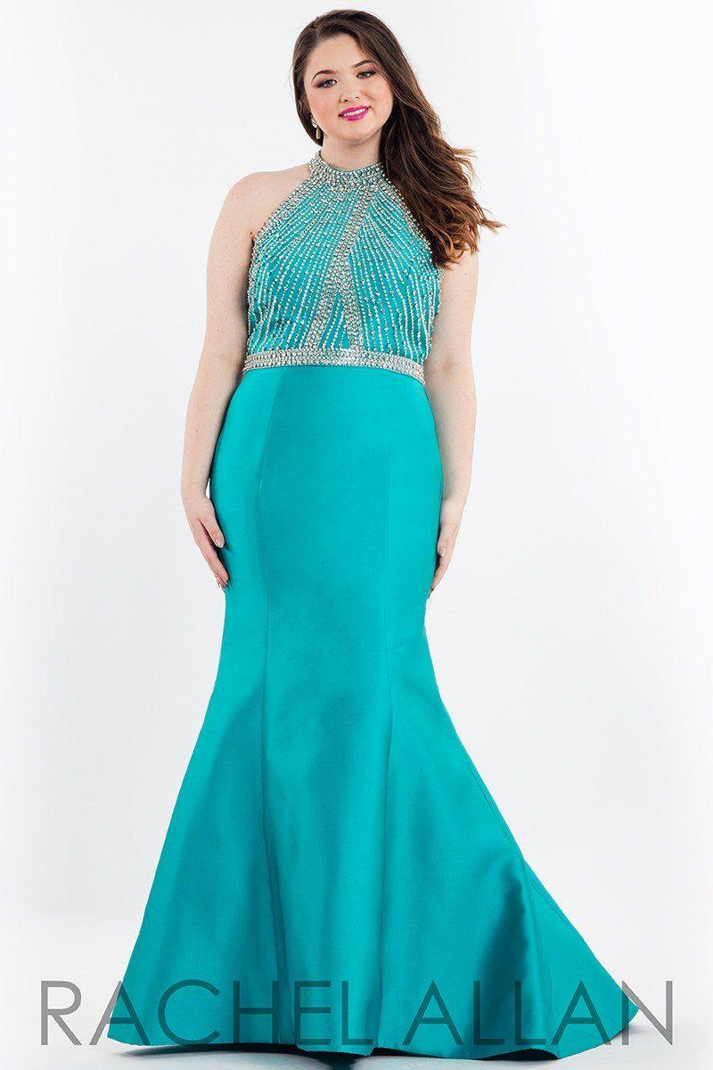 Rachel allan plus jade halter beaded mermaid prom dress