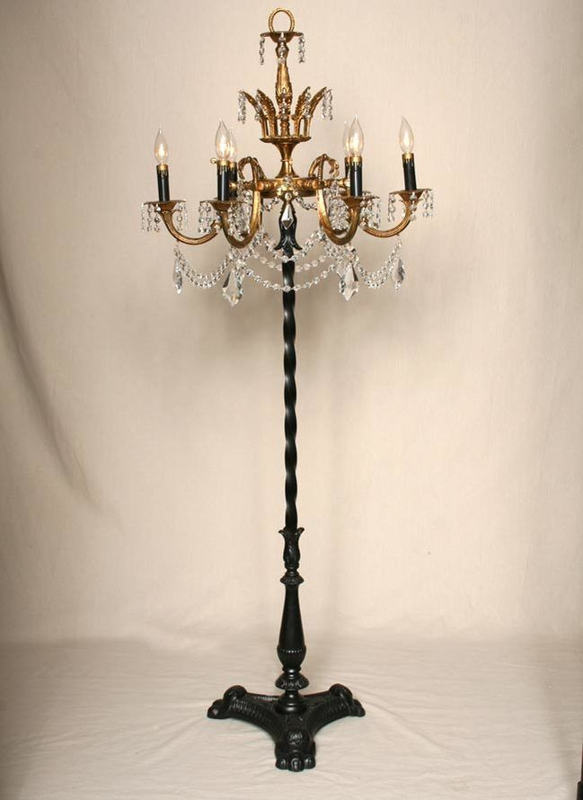 A Custom Brass And Crystal Chandelier Floor Lamp This Elegant
