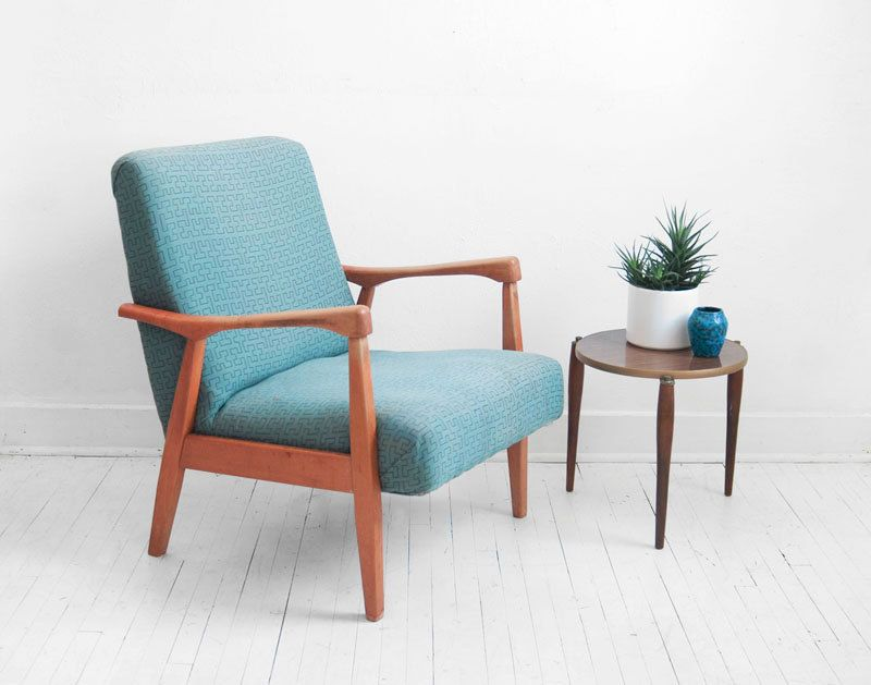 Mid century lounge chair modern side wood retro by