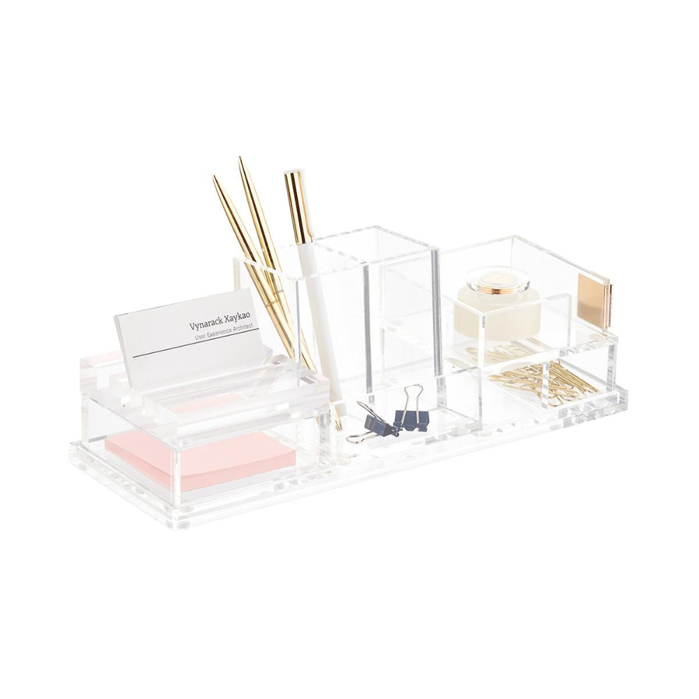 Russell Hazel Acrylic Desktop Storage Kit In 2020 Acrylic Desk Accessories Desktop Storage Storage Kits