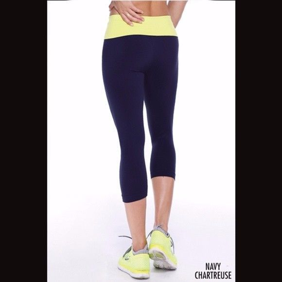 c233358f15882f Yellow and Navy Blue Capri Flex Fit Yoga Pants by Nikibiki #fashion  #clothing #shoes #accessories #womensclothing #activewear (ebay link)