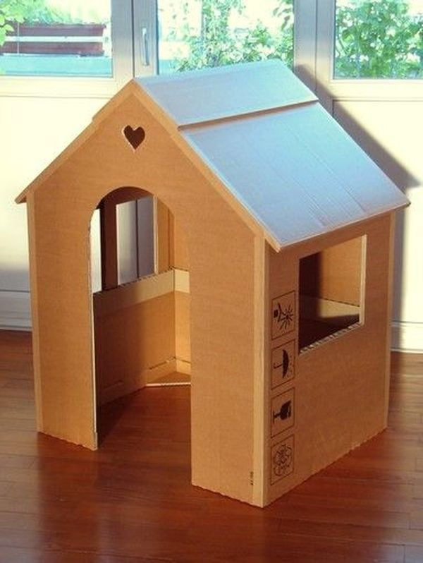 13 Unique Playhouse Ideas From Cardboard My Baby Doo Cardboard House Cardboard Box Houses Cardboard Houses For Kids
