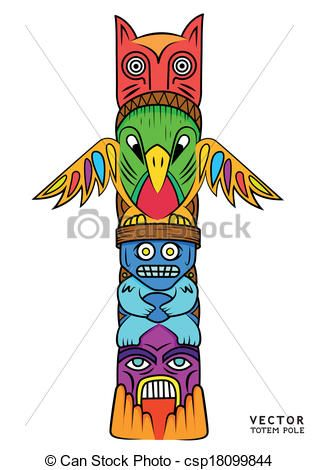 Eps Vector Of Vector Totem Pole A Bright And Colourful Totem Pole Csp18099844 Search Clip Art Illustration D Totem Pole Totem Pole Drawing Totem Pole Art