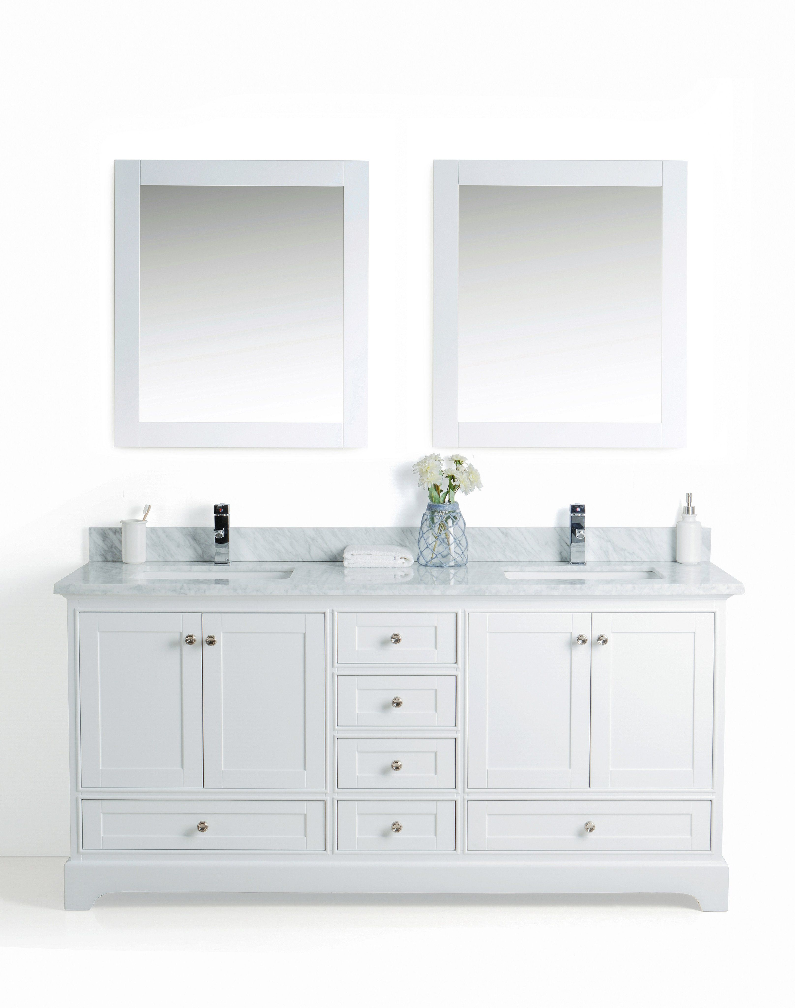 72 Inch Double Sink Bathroom Vanity with Carrara Marble Top ...