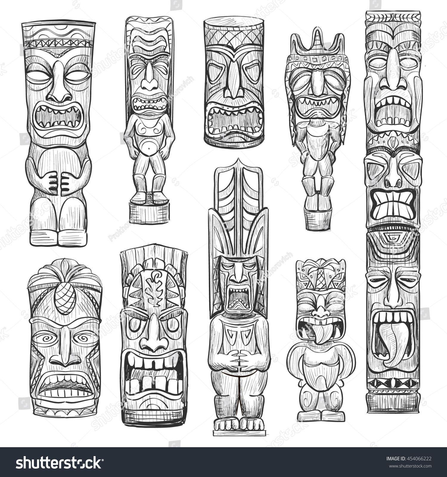 Vector collection of sketches hawaiian tiki idols vector collection of sketches hawaiian tiki idols hawaiiantattoossymbols biocorpaavc Image collections