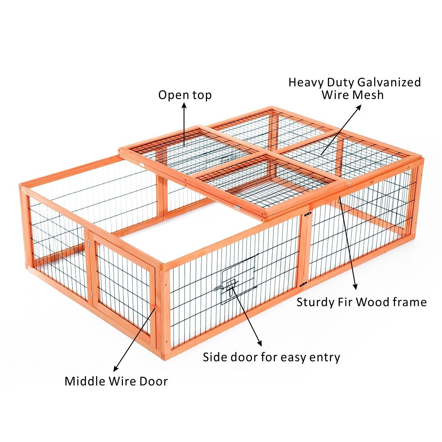 Deluxe Wooden Rabbit Hutch with Run Pet Animal Cage Poultry Chicken ...