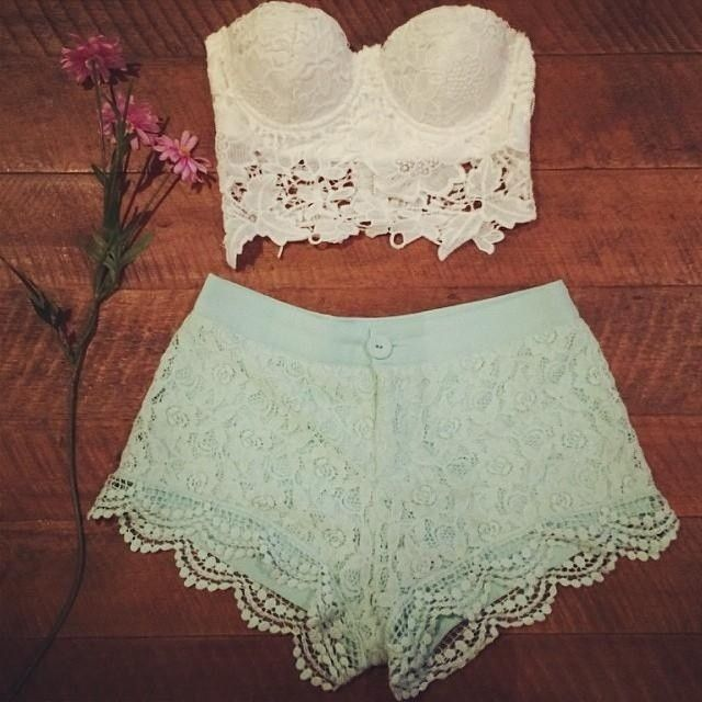 Double lace? Affinity bustier & Mockingbird shorts from www.iloveshowpo.com