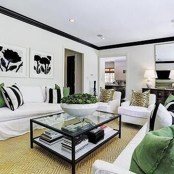 White And Black Living Room With Emerald Green Accents Living Room Green Emerald Green Living Room Black Living Room