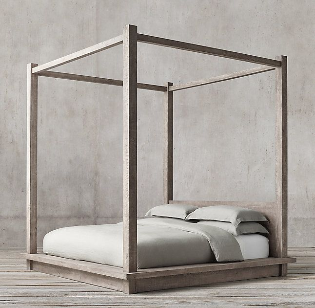 RH\'s Reclaimed Russian Oak Four-poster Bed:Handcrafted of solid ...