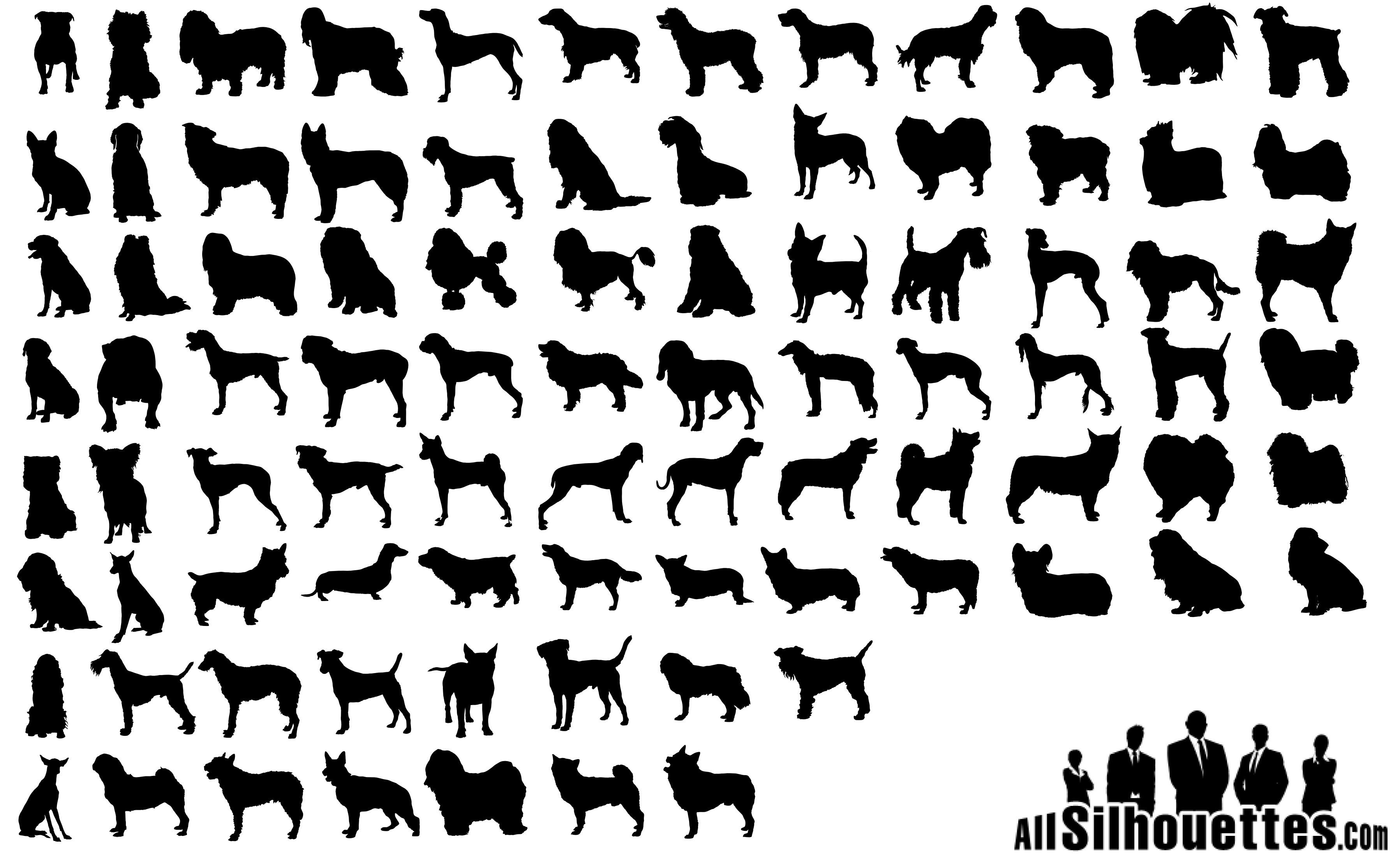 80 Dogs Silhouettes Vector Eps Free Download Logo Icons