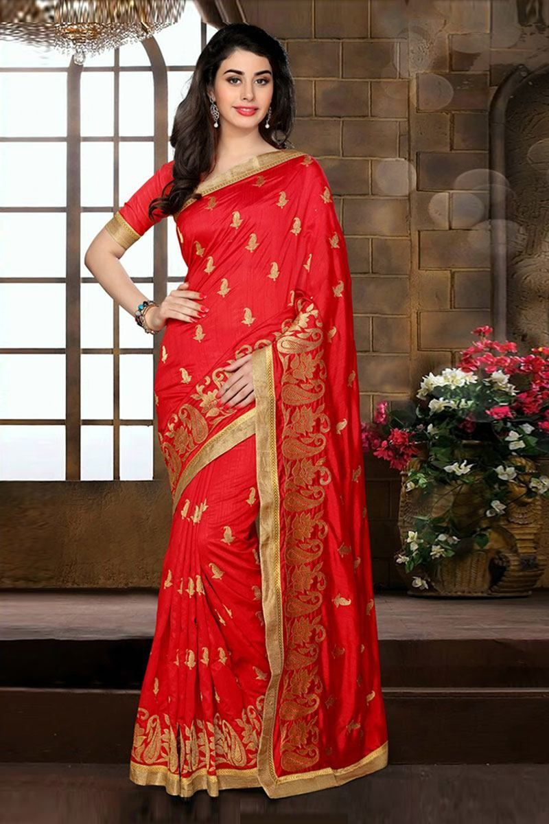 dark red color embroidery work partywear silk saree embroidery saree