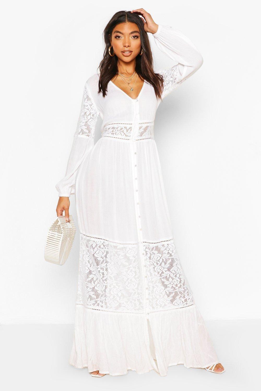 Tall Lace Insert Maxi Dress Boohoo Boohoo White Dress Maxi Dress Collection White Plus Size Dresses [ 1500 x 1000 Pixel ]