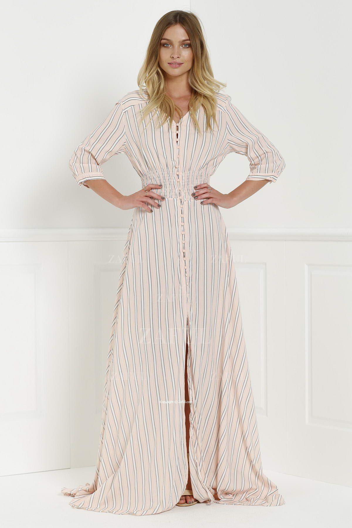 Button Front Stripe 3 4 Sleeve Maxi Dress Pink Maxi Dress With Sleeves Pink Maxi Dress Maxi Dress [ 1800 x 1200 Pixel ]