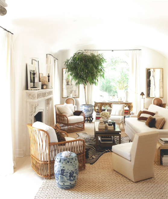 Living Room all neutrals with an accent of blue/white pottery. New Traditional Style by - Mark D Sikes as seen in House Beautiful.  Photo by Amy Neusinger