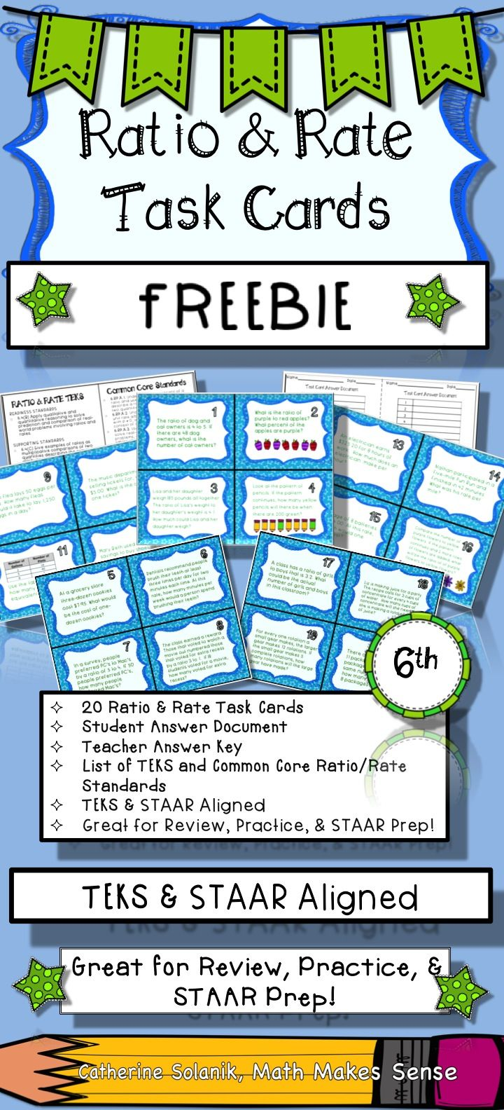 6th Grade Math Task Cards Ratios and Rates TEKS-STAAR