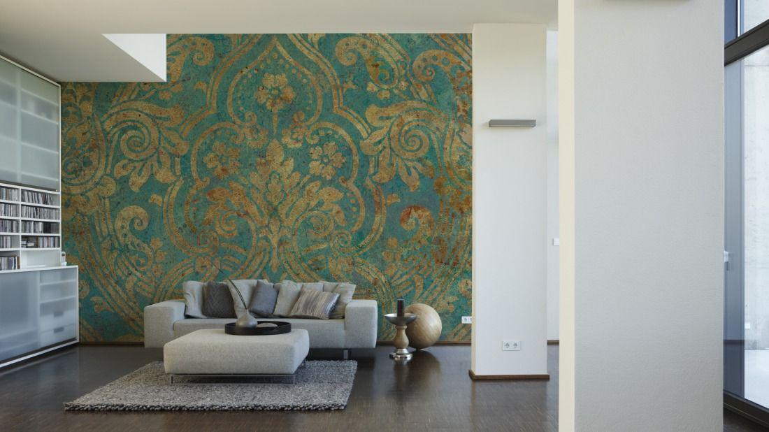 Tapeten im Wohnzimmer; Livingwalls Fototapete «Ornament G XXL - wohnzimmer tapete modern