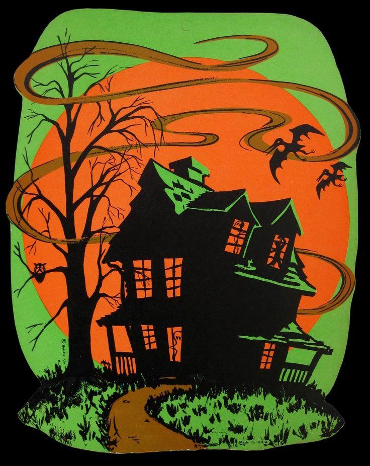 vintage halloween decorations Vintage Beistle Haunted House - vintage halloween decorations
