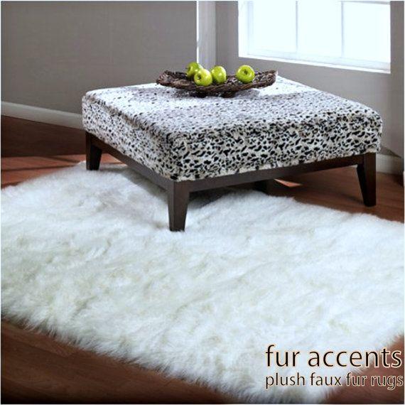 5 X5 Faux Fur Square Sheepskin Area Rug Warm Off White Bear Skin Accent Polar Pelt Plush Soft Fake Throw New