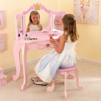 Princess Vanity Set With Mirror Kids Dressing Table Little