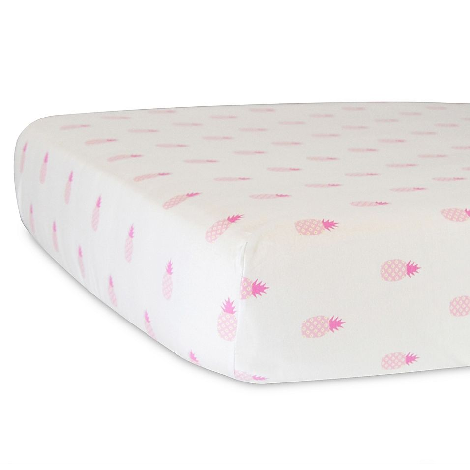 hello spud organic cotton jersey pineapples fitted crib sheet in