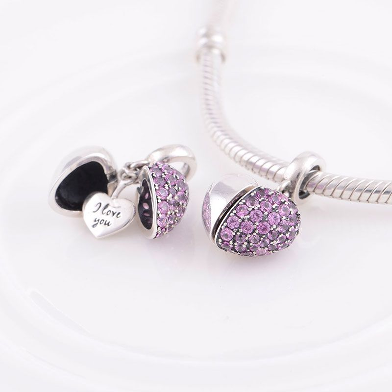 f82113e4b4a S925 Sterling Silver Charm with Pink Zircon Stone for DIY Bracelet ...