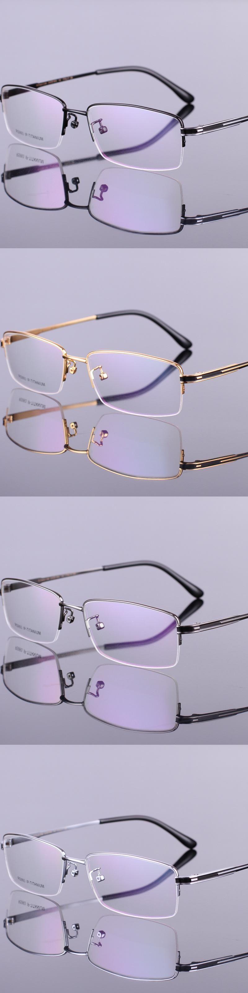 Men\'s fashion eyeglass gold ultralight titanium frames eye glasses ...