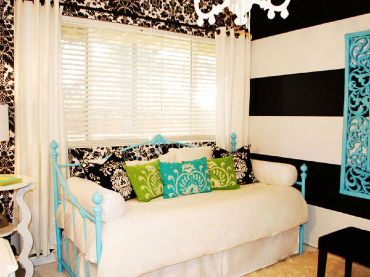 Bedroom, : Killer Black And Blue Teenage Girl Bedroom Decoration Using Light Blue Iron Daybed Frame Including All White Daybed Valance And Black And White Stripe Bedroom Wall Paint