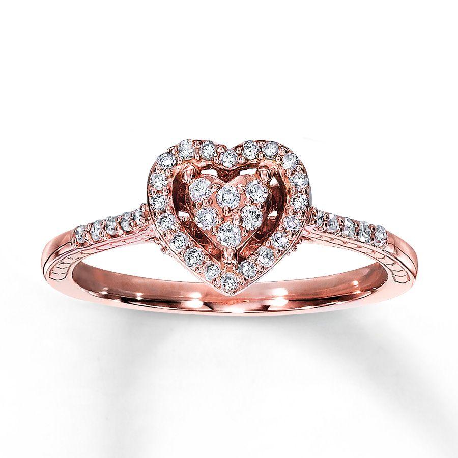 Rose Gold Promise Rings - Kay - Diamond Promise Ring 1/4 ct tw ...