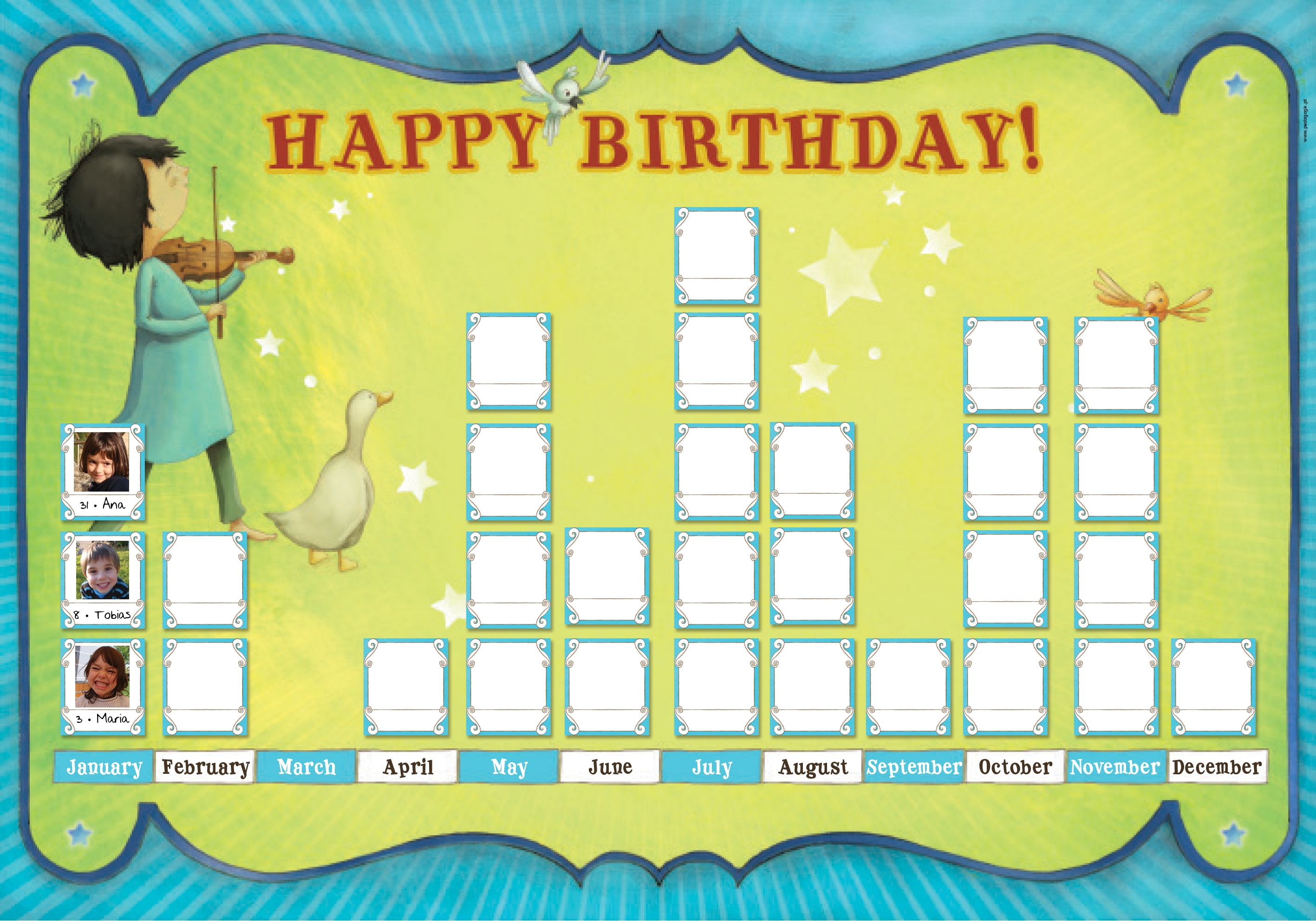 A Birthday Chart To Decorate Kids Rooms And Classrooms