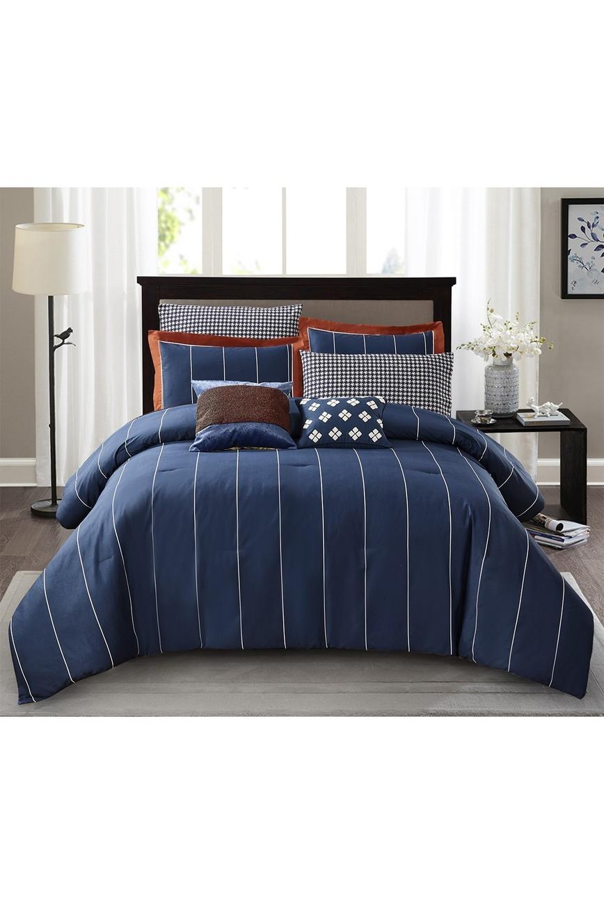 Jonesworks Design Navy Asher 3 Piece Full Queen Comforter Set