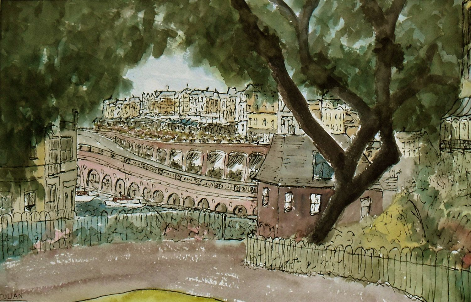 View over Ramsgate - A Large original Ink and Watercolour painting! Lovely Gift! by JulianLovegroveArt on Etsy