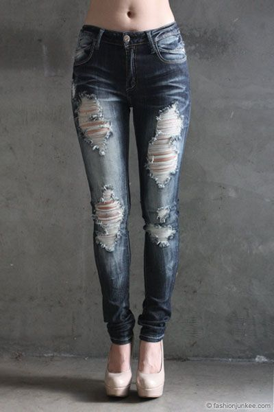 491f71080d8 PLUS SIZE Ripped Distressed Destroyed Denim Faded Skinny Jeans-Dark Blue