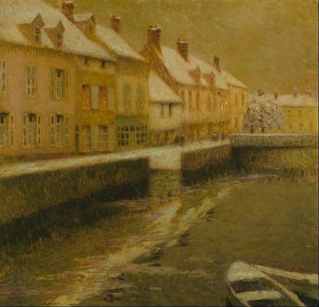 Canvas Art Prints Stretched Framed Giclee World Famous Artist Oil Painting Henri Le Sidaner Canal In Bruges Winter $12.81