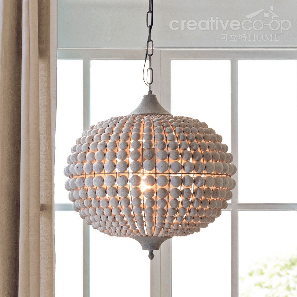 Metal & Wood Beads Chandelier, White Wash  Creative Co-Op ...