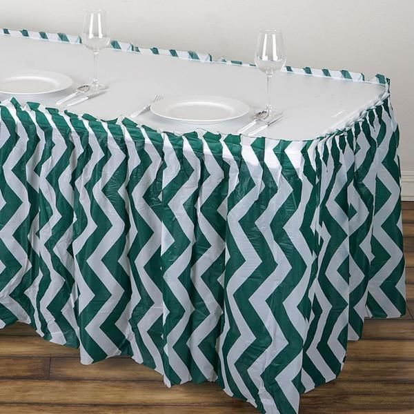 14ft Hunter Emerald Green 10 Mil Thick Chevron Plastic Table Skirts Disposable Table Skirt Spill Proof In 2020 Plastic Tables Table Skirt Stylish Tables