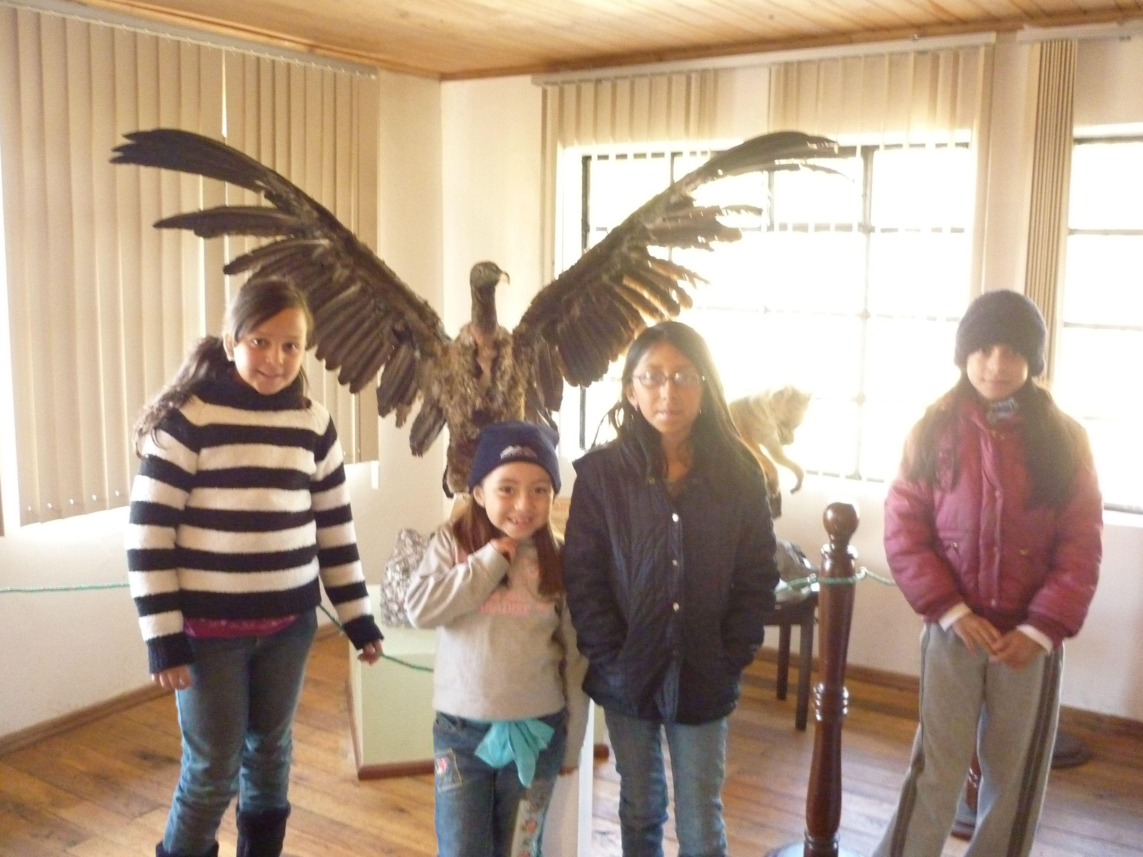 En el museo junto a un condor
