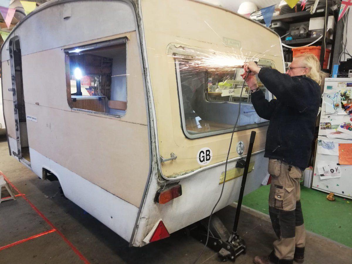 All Week We Have Been Busy Taking Awning Rails Off Windows Off Removing Damp Rot From Interior Alpines Vintage Caravan Vintage Caravans Teardrop Caravan