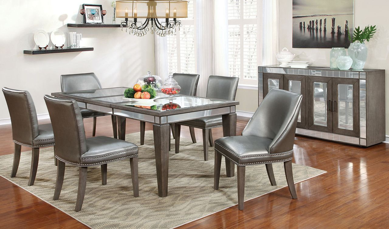 Furniture Of America 7pc Sturgis Collection Dining Table Set With
