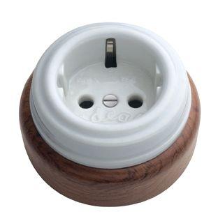 Enchufe base de porcelana y madera retro interruptores porcelana mecanismos antiguo - Interruptores clasicos ...