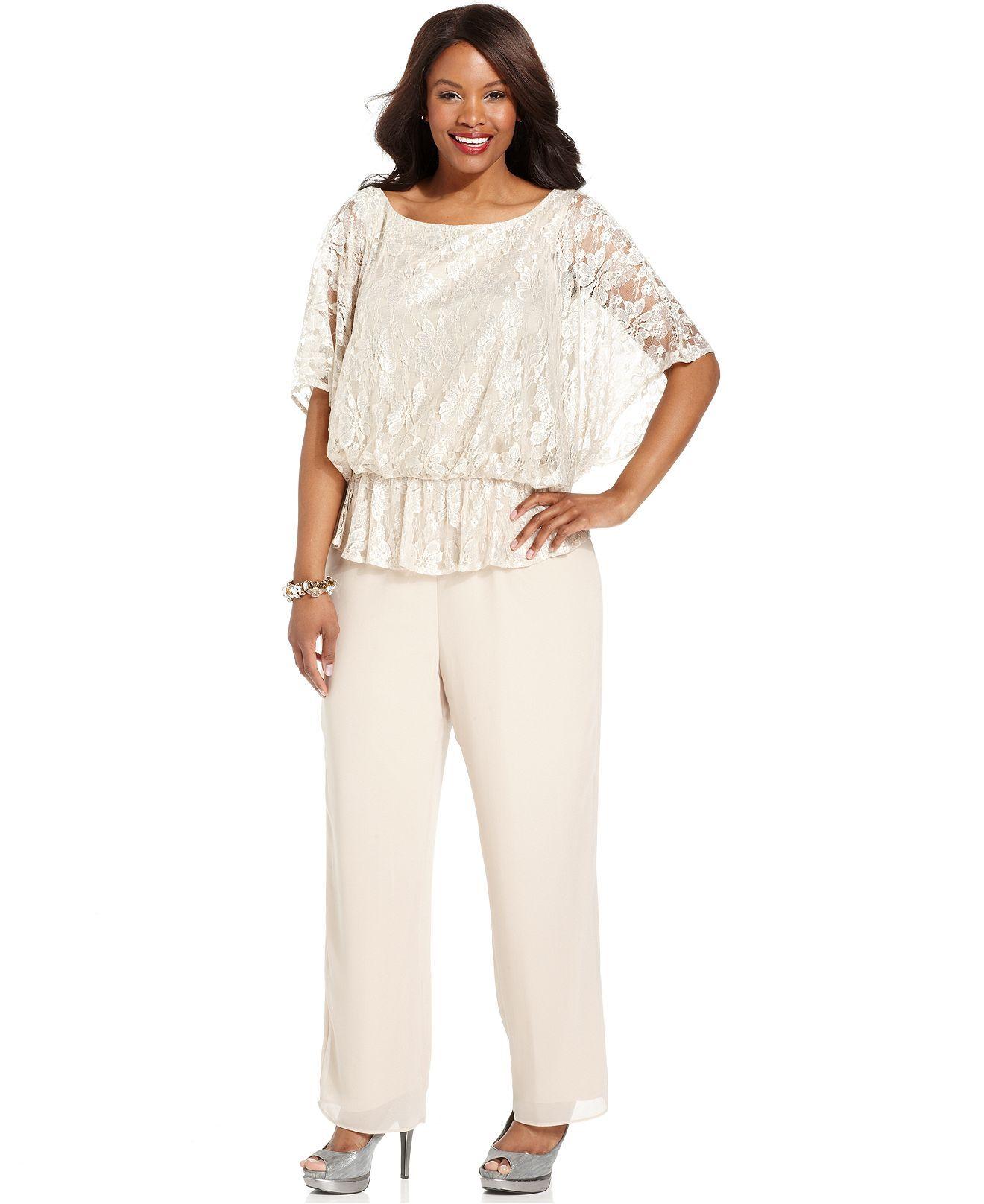 Le Bos Plus Size Outfit Short Sleeve Dolman Lace Top Dress Pants Dresses Sizes Macy S