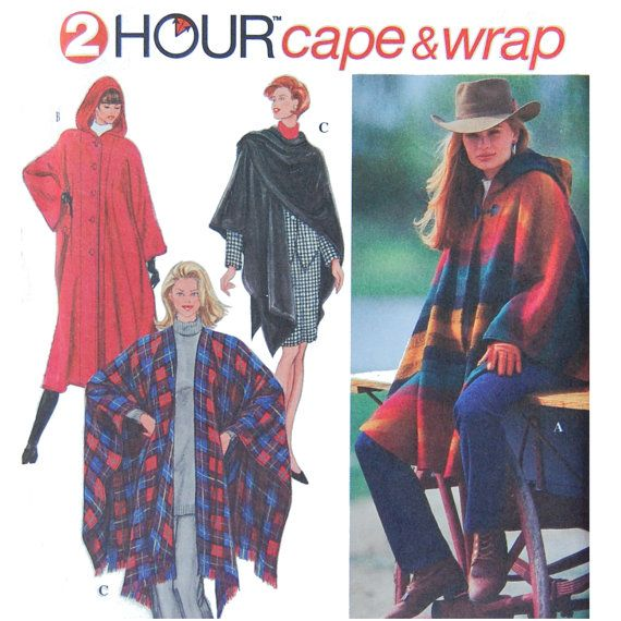 2 hour Cape and Wrap Sewing Pattern - Fall Fashion - Simplicity 9223 ...